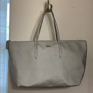 Lacoste tote bag. Leather straps